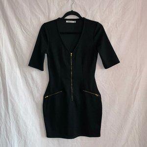black just fab dress with gold zipper